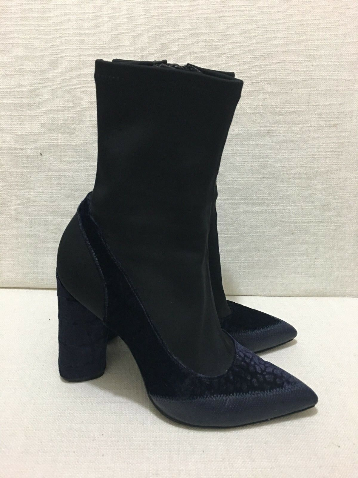 CAMILLA AND MARC Zoey Stretch Black Neoprene & bluee Crocodile Embossed Boots