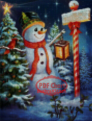 PDF Cross Stitch Chart cross stitch pattern cross stitch card embroidery pattern snowman Christmas ornament