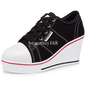 42cb2fc1af8 Image is loading Women-039-s-Canvas-Fashion-Sneaker-High-Heeled-