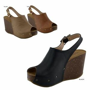 55cb2ba9bb95 Women Peep Toe Mule Slingback Strap Platform Wedge Heel Shoes Sandal ...