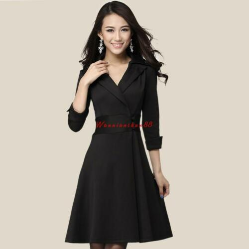Womens Knee Long Dress Trench Slim Fits Dust Summer Coats Jackets Formal