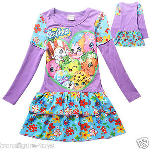 kids girls shopkins clothing cotton dress purple shopkin stock in au