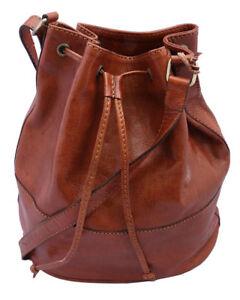 Genuine Leather Drawstring Duffle Shoulder Bag Bucket bag- Tan and ... 823b03d4aaf45