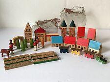 28 Piece Vtg East Germany Miniature Wood Village Trees People Train Horse Fence