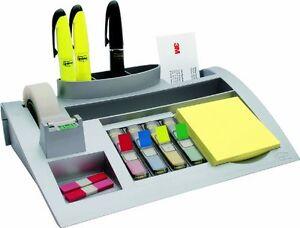 Tisch-Organizer-Post-It-Stiftekoecher-Schreibtisch-Buerowaren-Ordnung-Buero-Silber
