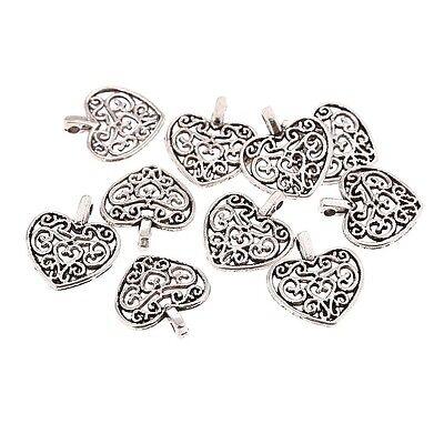 Heart pattern Tibetan Silver Bead charms Pendants fit bracelet 10pcs 16x15mm