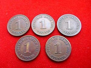 J 10 1 Pfennig ( 5 x ) 1894 A D E , 1895 A J B50 T3 - BRD, Deutschland - J 10 1 Pfennig ( 5 x ) 1894 A D E , 1895 A J B50 T3 - BRD, Deutschland