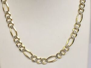 a00853a66045 14k Solid Gold Pave Figaro Link men s Chain Necklace 24
