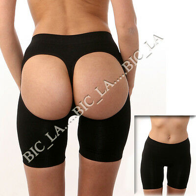 Boy shorts Butt Lifter Enhancer Slimming Firm Control Gridle Panties BLACK NUDE