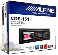 Alpine CDE-151 In-Dash Car Stereo CD/MP3/USB/AUX/Pandora Receiver Car Radio NEW
