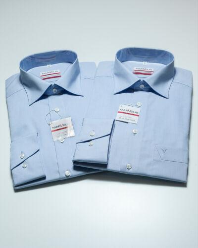 MARVELiS Hemden DOPPELPACK 2x Hellblau Modern Fit Bügelfrei 1//1 NEU