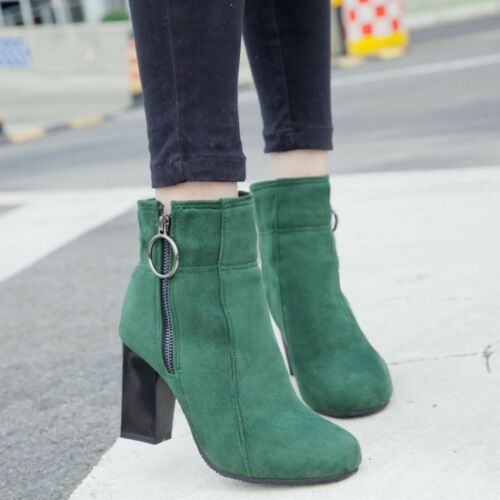 Plus Size Womens Side Zip Ankle Boots Round Toe Block Heel Fashion Suede Booties