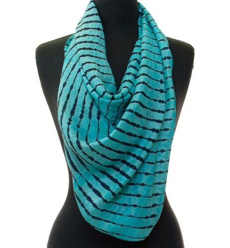 "Turquoise /& Navy Blue Hand-Tye-Dyed Shibori Silk Scarf 72/"" x 20/"" Chiffon"