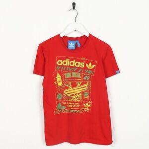 Vintage-ADIDAS-ORIGINALS-Big-Graphic-Logo-T-Shirt-Tee-Red-XS