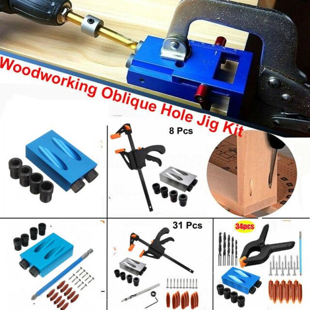 14X Pocket Hole Jig Kit Woodworking Wood Drill Angle Hole Locator Craft Working