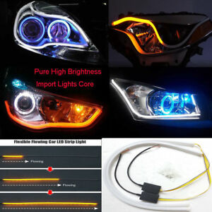 2PCS-60CM-Car-Flexible-Switchback-LED-Knight-Rider-Strip-Light-Headlight-Sequent