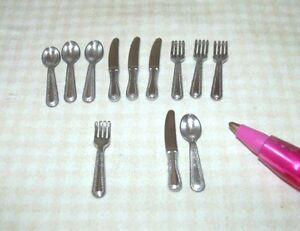 Miniature-12-Piece-Set-Metal-Flatware-Silverware-High-Detail-DOLLHOUSE-1-12