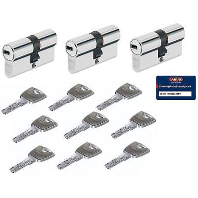 3 Stück ABUS XP20S 35/35 Doppelzylinder Schließzylinder mit 9 Schlüsseln