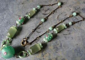 Vintage Art Deco Diamant\u00e9 and Paste Green Necklace