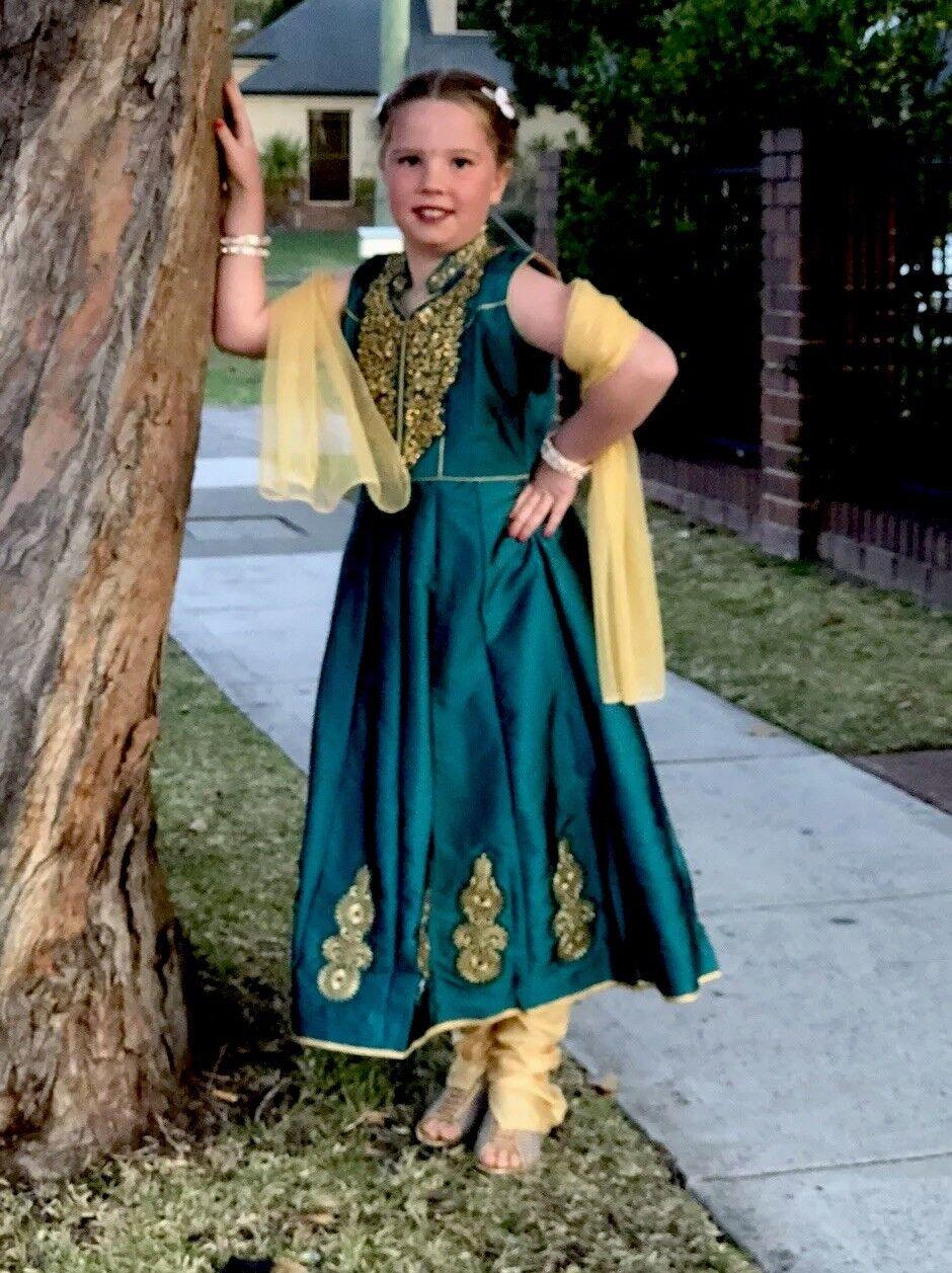 "24"" Size 3 4 Age Girls Salwar Kameez Indian Dress Kids Bollywood Green gold A35"