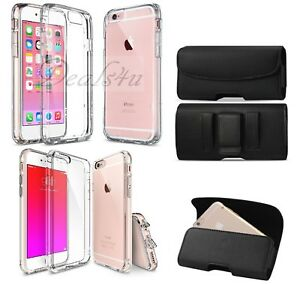 Leather-Holster-Belt-Clip-Pouch-Plus-Clear-Case-For-iPhone-5-6-6S-7-X-amp-7-8-Plus