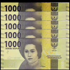 Lot 5 PCS, Indonesia 1000 Rupiah, 2016/2017, P-NEW, UNC>New Design