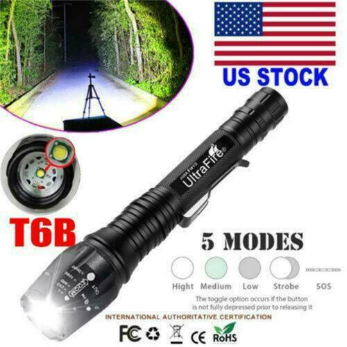 Details about  /350000LM  Tactical Zoomable LED Flashlight Torch Camping Lamp Sets