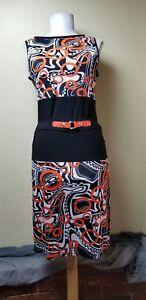 Joseph-Ribkoff-Belted-Jersey-Knit-Sheath-Dress-Sz-8-Black-White-Orange-Stretchy