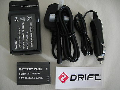 2 x FXDC02 Decoded Li-ion Battery and Charger For Drift HD GHOST DSLR