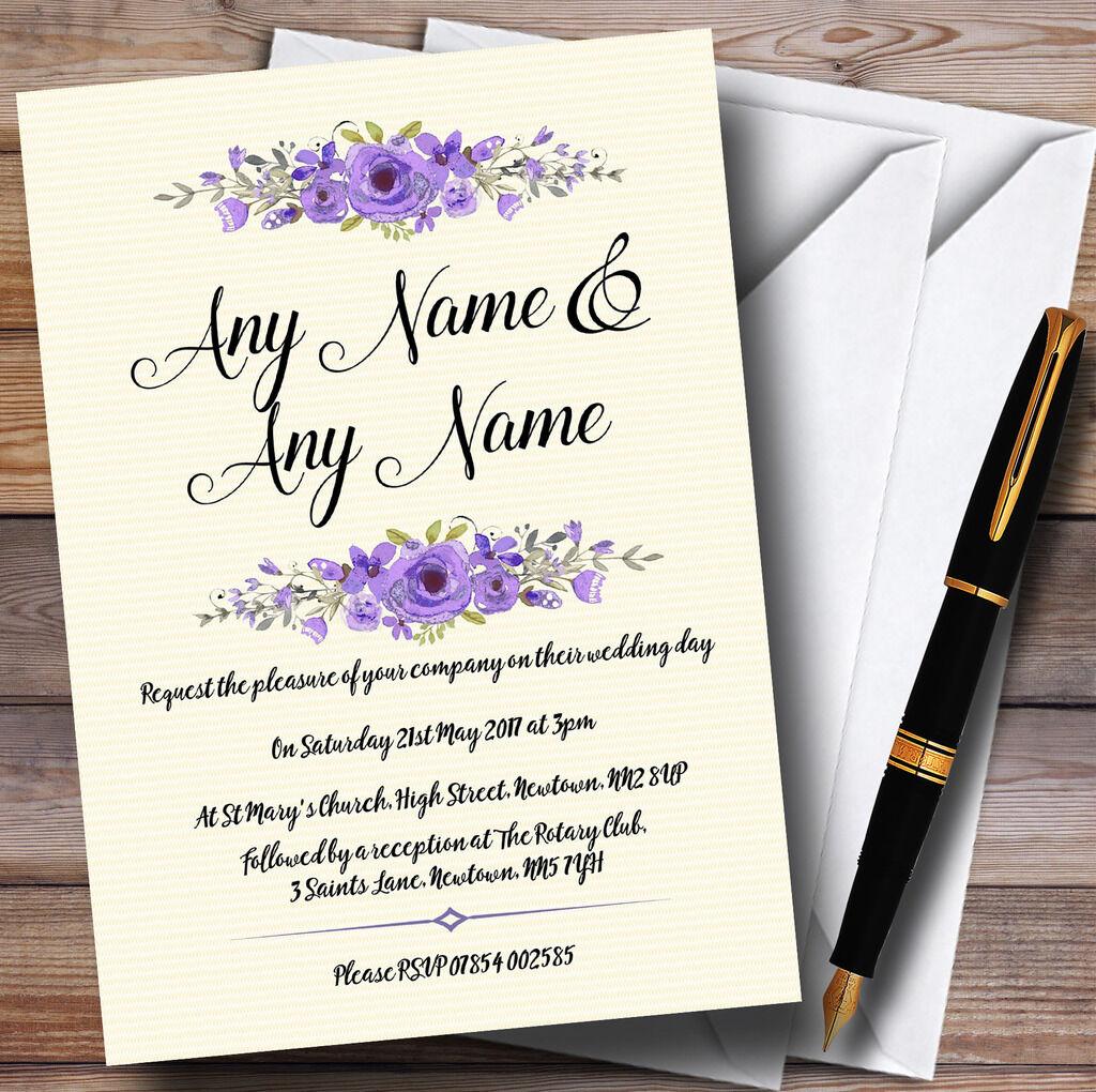 Aquarelle Purple Floral rustique rustique Floral personnalisé Wedding Invitations 0b59c7