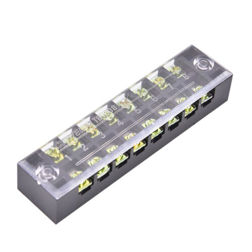 600V 15A 8 Positions Dual Rows Covered Barrier Screws Terminals Block Strips