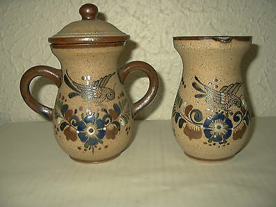 Netz Mex cream pitcher & sugar bowl mexican bird and floral design Gorgeous EUC