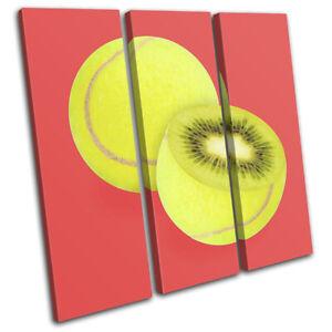 Tennis-Ball-Kiwi-Fruit-Food-Kitchen-TREBLE-CANVAS-WALL-ART-Picture-Print