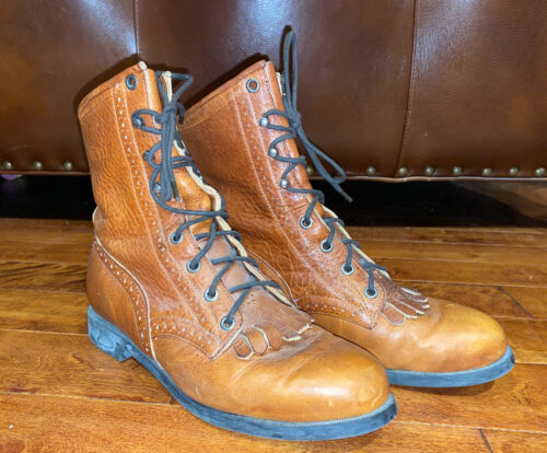 Vintage Women's Justin Boots Lace Up Brown Size 7.