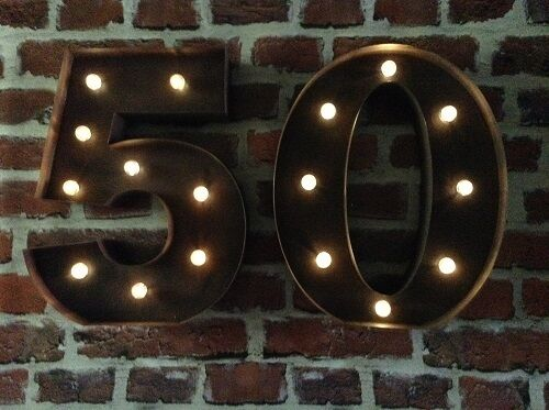 LED CARNIVAL 50TH BIRTHDAY ANNIVERSARY CELEBRATION NUMBERS  METAL LARGE 33 CM.