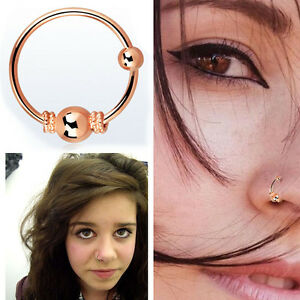 Nose Hoop Rose Gold 20g 0 8mm Balinese Wire Design Single Pair