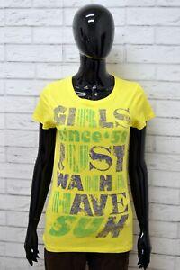 Maglia-SUNDEK-Donna-Taglia-Size-S-Maglietta-Shirt-Woman-Manica-Corta-Cotone-Slim
