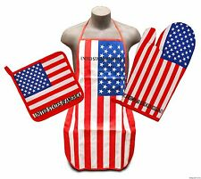 United States Flag Kitchen & BBQ Set *NEW* w/ Apron Oven Mitt & Pot Holder U.S.