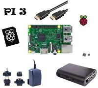 Raspberry Pi3 Model B Set mit 8GB Speicherkarte Netzteil Gehäuse HDMI Kühlkörper