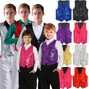 Unisex-Sequin-Vest-Waistcoat-Dance-Party-Show-Costume-Mens-Womens-Boys-Girls