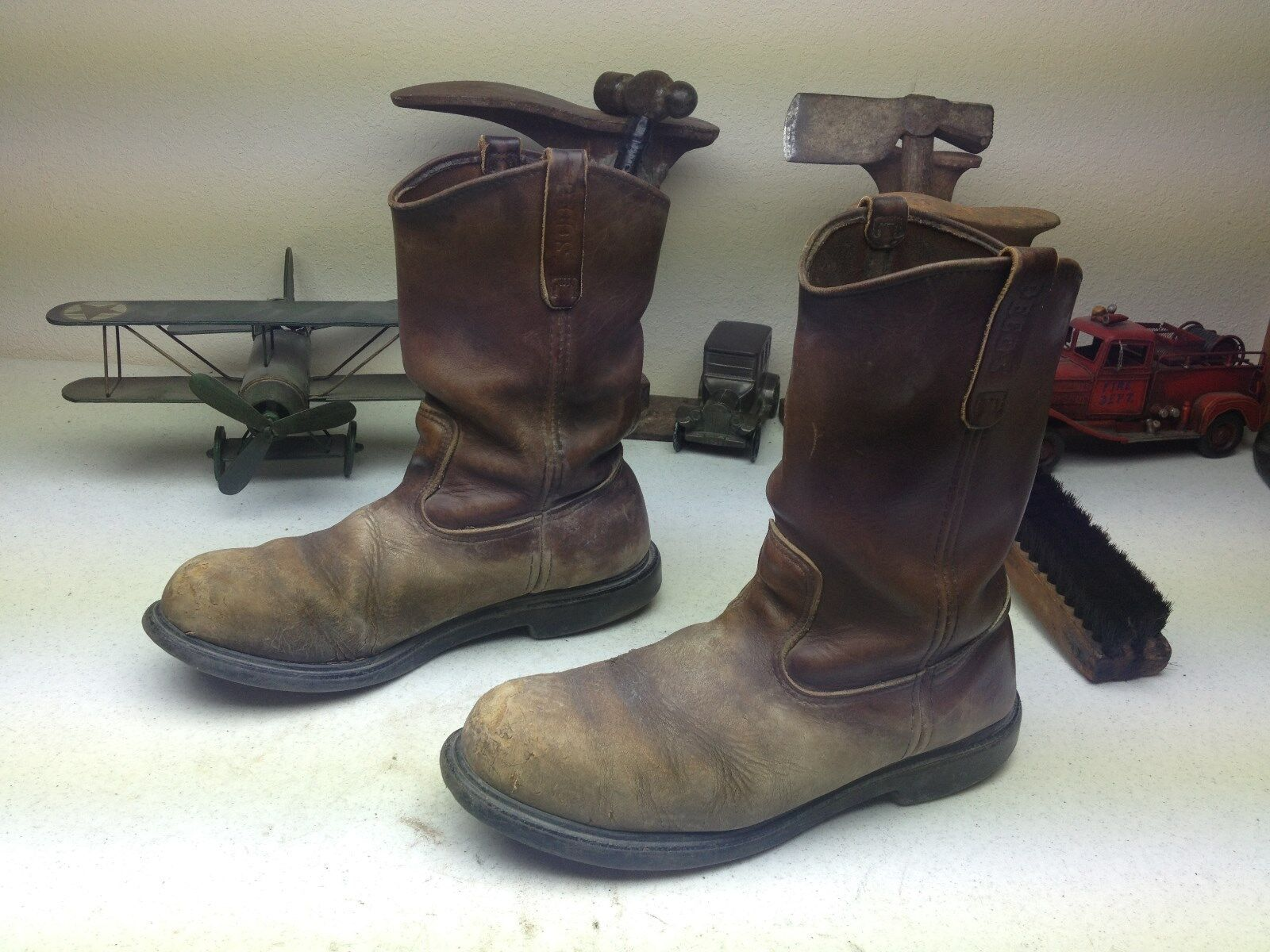 RED WING OIL RIG DISTRESSSED BROWN LEATHER ENGINEER STEEL TOE TOE TOE WORK BOOTS 11 E 4863aa