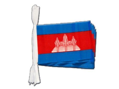 Fahnenkette Flaggenkette Girlande Kambodscha Fahnen Flaggen 15x22cm