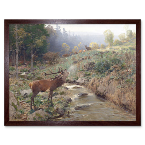 Kroner Herd Red Deer Forest Glade Stag Painting Art Print Framed 12x16