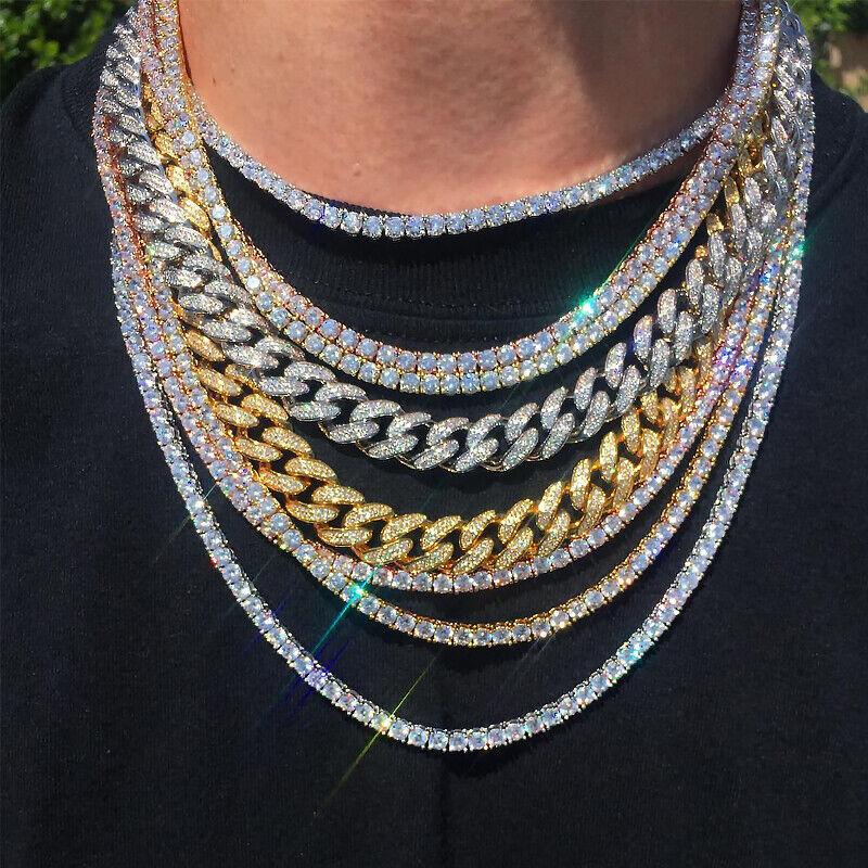 """ChainsPro Cha/îne de Tennis-Collier Maillon Cubaine de Miami,Hip Hop Style Iced Out Bling Bling,Diamant Simul/ée 3A CZ en Cuivre Plaqu/é Platine//Or 18K 18-36/"""" 46-91cm Collier Homme Rappeur Am/éricain"""