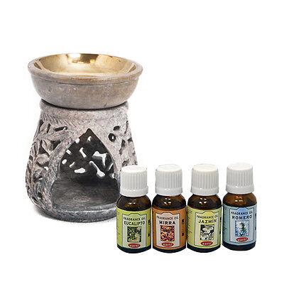 Incluye 2uds de Velas Quemador de Aceites Esenciales de Colores de Piedra Esteatita Medidas: 7x7x9cm Quemador Incienso Buho Real 6 Modelos Diferentes L/ámparas Arom/áticas de Aceite