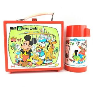 Rare-1970s-Walt-Disney-World-Lunch-Box-And-Thermos-Aladdin-Red-Plastic-Canada