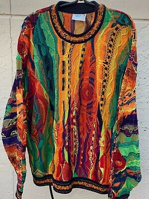 VINTAGE 90's COOGI MULTICOLORED BIGGIE HIP HOP COSBY SWEATER SZ L | eBay