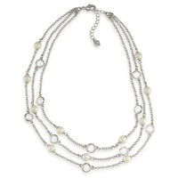 Carolee 'modern Love' Triple Row Glass Pearl Silver-tone Illusion Necklace $75