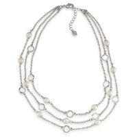 Carolee 'modern Love' Triple Row Glass Pearl Silver-tone Illusion Necklace $75
