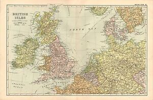 1908-LARGE-VICTORIAN-MAP-BRITISH-ISLES-ENGLAND-WALES-SCOTLAND-STEAMSHIP-ROUTES
